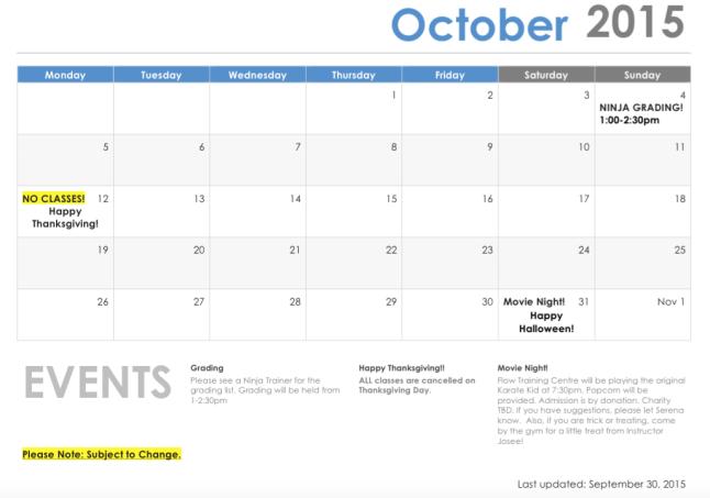 *REVISED* October schedule