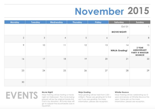 November Events Calendar