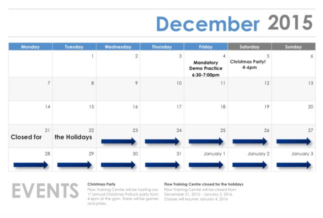 December 2015 Event Calendar